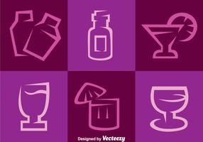 Ícones roxos do vetor do cocktail