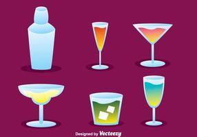 Ícones do cocktail cocktail vetor