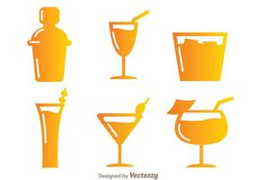 Ícones do Cocktail de Gradiente vetor