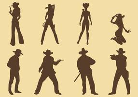 Silhuetas de vaqueiras e cowboys vetor