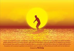 Ilustração do por do sol do surfista vetor