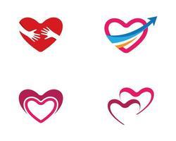 conjunto de logotipo de coração de amor vetor