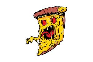desenho de monstro de pizza vetor
