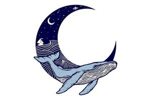 design vintage de baleia e lua vetor