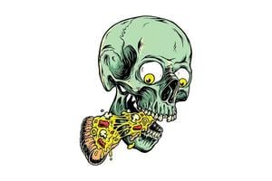 crânio comendo pizza slize desenho vetor