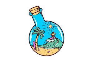 praia em um desenho de garrafa vetor