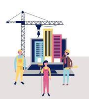 composição abstrata de trabalhadores da construção civil vetor