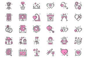 ícones de amor e romance rosa vetor