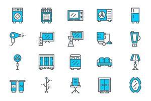 ícones de eletrodomésticos interiores azuis vetor