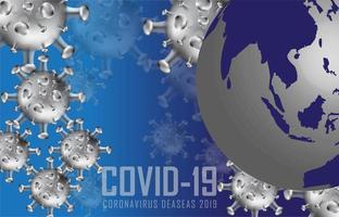 fundo de globo de terra azul covid-19 vetor