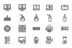 ícones de computador e dispositivos eletrônicos vetor