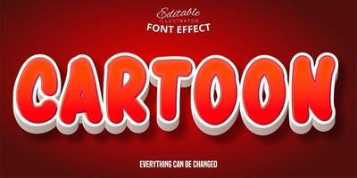 efeito de fonte 3d vermelho e branco dos desenhos animados vetor
