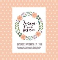 cartão de casamento com coroa de flores vetor