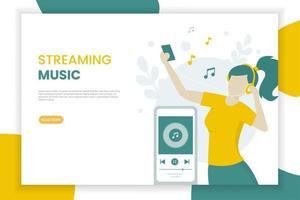 modelo de página de destino de streaming de música vetor