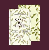 salve o cartão de data com folhas vetor