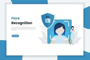 página de destino da tecnologia de reconhecimento facial