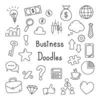 conjunto de ícones de mão desenhada negócios doodle vetor