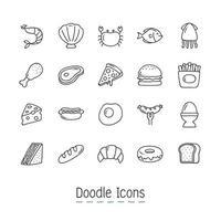 Doodle conjunto de ícones de comida vetor