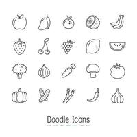 Doodle frutas e vegetais conjunto de ícones vetor