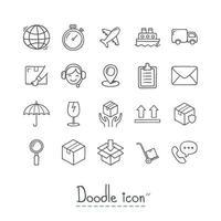 doodle ícones de logística vetor