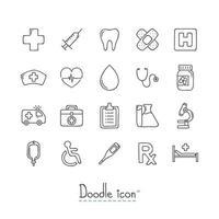 Doodle conjunto de ícones médicos vetor