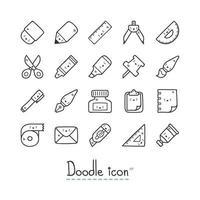 ícones estacionários bonitos desenhados à mão vetor