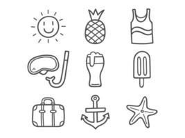 conjunto de ícones do verão doodle vetor
