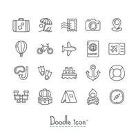 Doodle conjunto de ícones de viagens vetor
