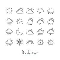 Doodle conjunto de ícones do tempo vetor