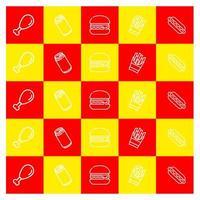 padrão de ícone vermelho e amarelo fast-food vetor