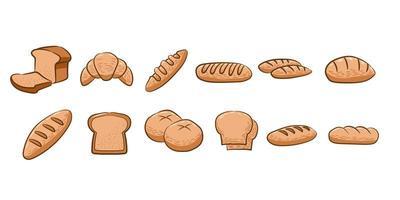 conjunto de elementos de pão vetor