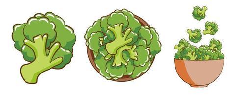 conjunto de elementos de brócolis vetor