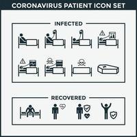 conjunto de ícones de pacientes com coronavírus vetor