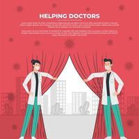 médicos abrem cortinas para um mundo melhor vetor
