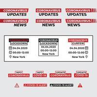 atualização de coronavírus e conjunto de alertas vetor