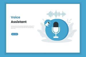 modelo de página de destino do assistente de voz vetor