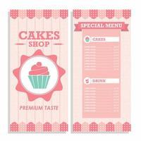 menu vertical da loja de bolo rosa vetor