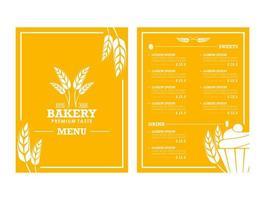 menu de padaria com tema de trigo amarelo vetor