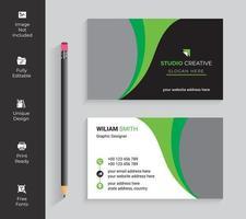 cartão de visita verde e preto do design da curva vetor