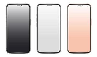 conjunto de smartphones em várias cores vetor