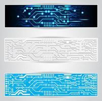 conjunto de banner de placa de circuito elétrico vetor