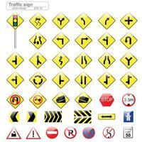 conjunto de sinal de trânsito brilhante vetor