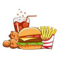 conjunto de refeição de fast food vetor