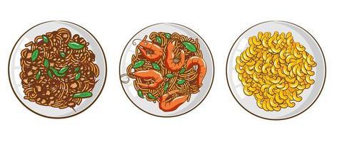 conjunto de jantar de massas vetor