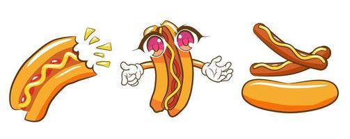 conjunto de cachorro-quente dos desenhos animados vetor