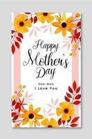 feliz dia das mães cartão floral vetor