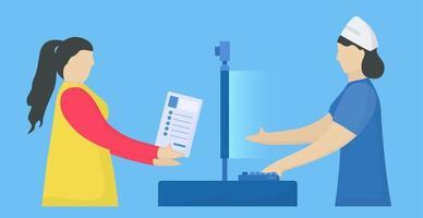 mulher com doença envia informações pessoais para nutrir recepcionista vetor