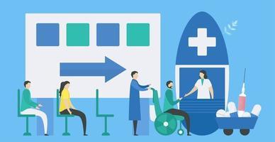 pacientes esperando na sala de espera médica
