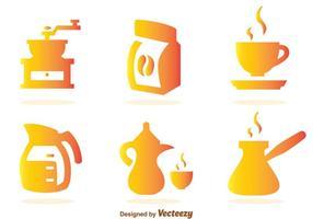 Ícones de gradiente de café vetor