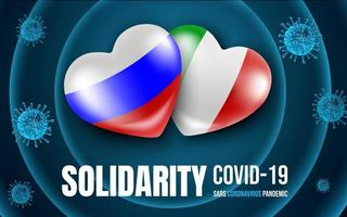 bandeiras do coração da rússia e da itália por solidariedade ao coronavírus